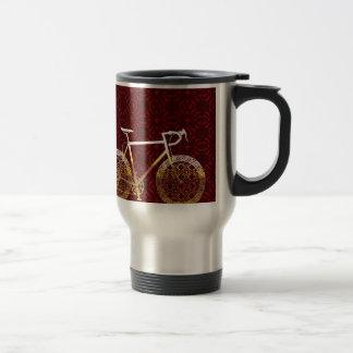 Golden Bicycle Vector Art Travel Mug