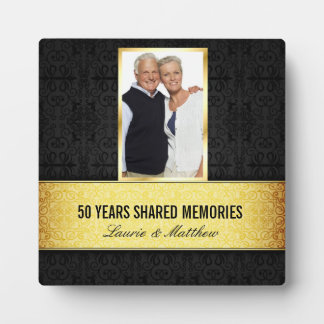 Golden Black Damask Photo Frame 50th Anniversary Photo Plaques