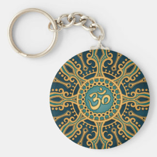 Golden Blue Aum Star Key Ring