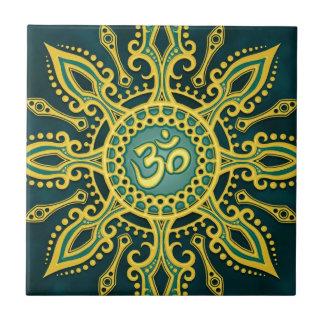 Golden Blue Aum Star Small Square Tile