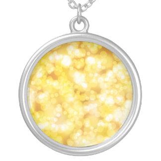 Golden Bokeh Glitter Silver Plated Necklace