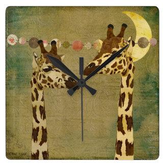 Golden Bronze Giraffes Moonlight Clock