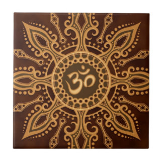 Golden Brown Aum Star Small Square Tile