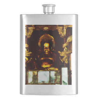 Golden Buddha Kyoto Japan Abstract Impressionism Hip Flask