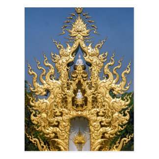 Golden Buddhist Monument, White Temple, Thailand Postcard