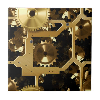 Golden Cogs And Gears 3 Dimensional Tile
