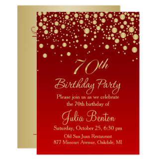 Golden confetti on red 70th Birthday Invitation