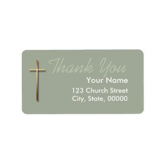 Golden Cross Thank You Label Choose Color 2 Address Label