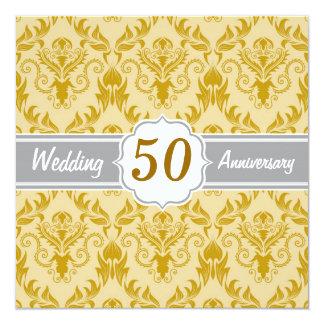 Golden Damask, 50th Wedding Anniversary 13 Cm X 13 Cm Square Invitation Card