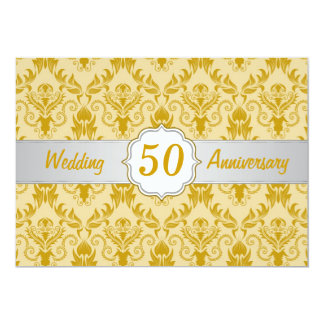 Golden Damask, 50th Wedding Anniversary Card