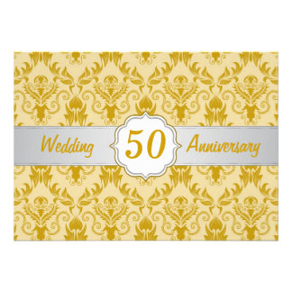 Golden Damask 50th Wedding Anniversary Announcements