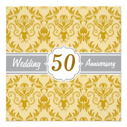 Golden Damask, 50th Wedding Anniversary Invitations