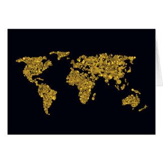 Golden Dot World Map Card