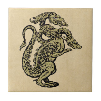 Golden Dragon with Three Heads Small Square Tile