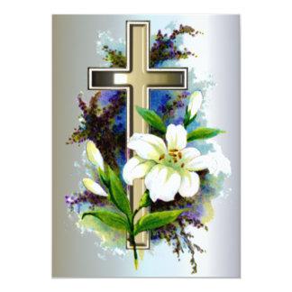 Golden Easter Cross and White Lilly Flowers Custom Invite