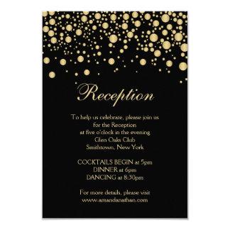Golden effect confetti Reception Card 9 Cm X 13 Cm Invitation Card