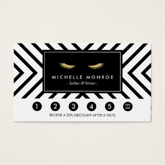 Golden Eyelashes with Pattern Loyalty Card