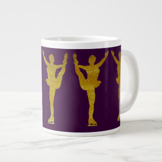 Golden Figure Skaters Spinning Extra Large Mugs
