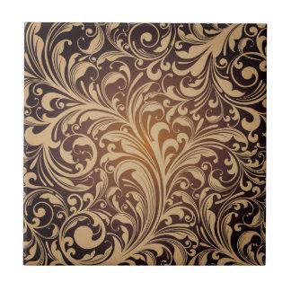 Golden floral Ceramic Photo Tile