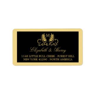 Golden Floral Emblem Wedding Address Label