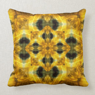 Golden flower gemstone fractal art pillow