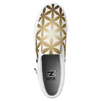 Golden Flower of Life Zips Printed Shoes