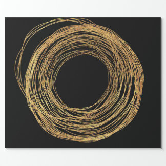 Golden Foil Round Circle Abstract Black Wrapping Paper