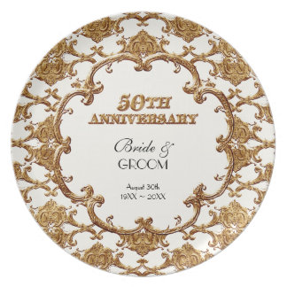Golden French Swirl Commemorative 50th Anniversary Plate
