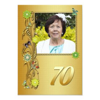 Golden Garden 70th Birthday party invitation