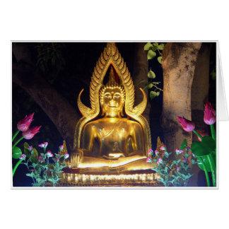 Golden Garden Buddha at Night Card