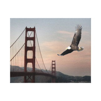 Golden Gate Bridge And EagleStretched Canvas Print