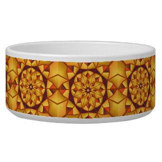 Golden geometric flourish pet bowl