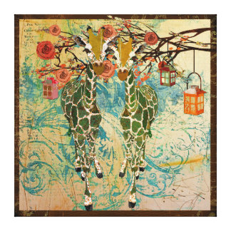 Golden Giraffes Rose Garden Canvas