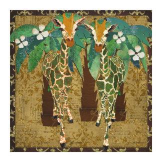 Golden Giraffes Tropicana Canvas Gallery Wrap Canvas