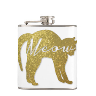 Golden Glitter Cat, Meow Quote Flask
