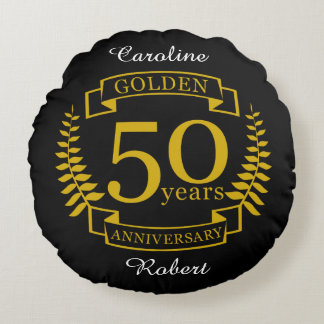 GOLDEN Golden 50 Years Wedding Anniversary 50 all Round Cushion