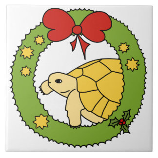 Golden Greek Tortoise Christmas Tile (wreath)