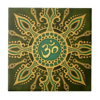 Golden Green Aum Star Small Square Tile