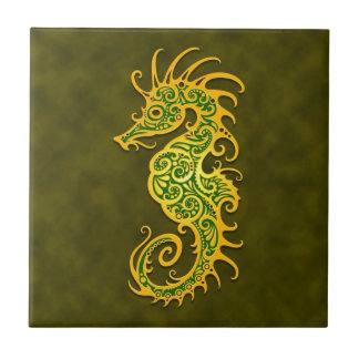 Golden Green Tribal Seahorse Small Square Tile