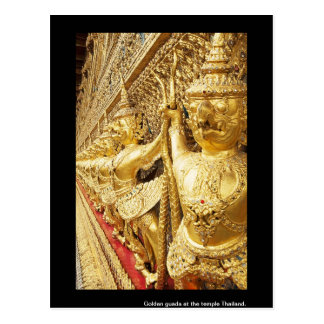 Golden guada at the temple Thailand. Postcard