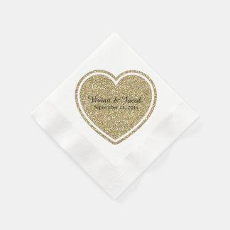 Golden Heart Custom Wedding Napkin Disposable Serviette