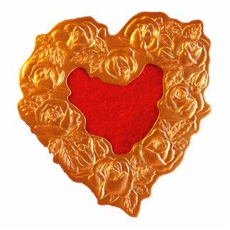Golden Heart Standing Photo Sculpture