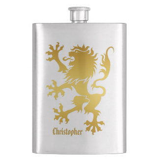 Golden Heraldic Lion Flask