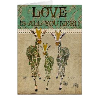 Golden Jade Giraffes Love Greeting Card
