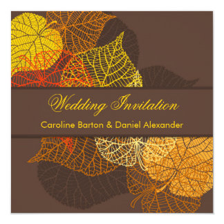 Golden lacy autumnal leaves Wedding Invitation