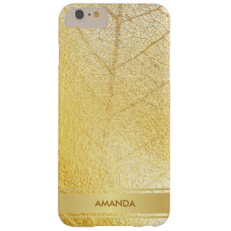 Golden Leaf Shiny Glam Minimalism Yellow Barely There iPhone 6 Plus Case