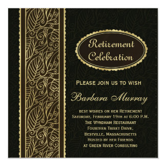 Golden leaves on black Retirement Party Card