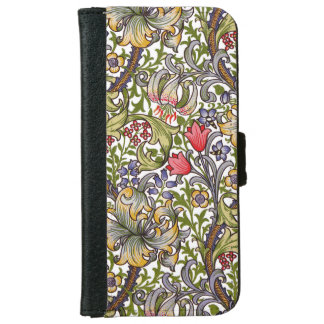 Golden Lily Vintage Floral Pattern William Morris iPhone 6 Wallet Case