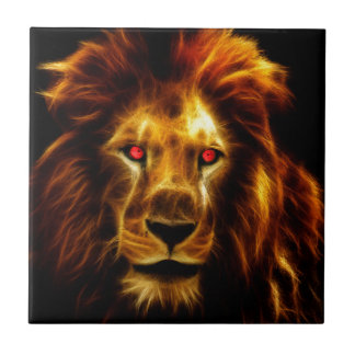 Golden Lion, Leo, King of the Jungle Small Square Tile