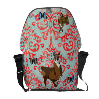 Golden Llama Damask Butterfly  Messenger Bag